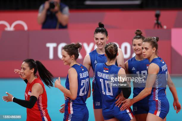 Team Serbia celebrates against Team Dominican Republic during the Women's Preliminary - Pool A during the on day two of the Tokyo 2020 Olympic Games...