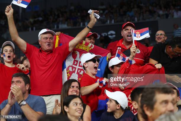 Team Serbia fans cheer during the match between Benoit Paire of France against Dusan Lajovic of Serbia during day four of the 2020 ATP Cup Group...