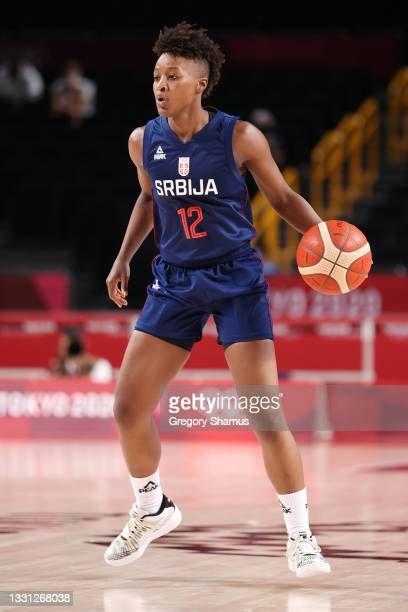Team Serbia point guard Yvonne Anderson looks to drive to the basket against Spain during the second half of a Women's Preliminary Round Group A game...