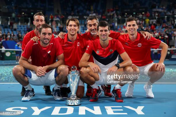 Team Serbia pose for a photo after winning the ATP Cup on day 10 of the ATP Cup at Ken Rosewall Arena on January 12 2020 in Sydney Australia