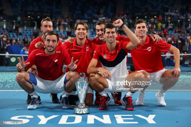 Team Serbia pose for a photo after winning the ATP Cup on day 10 of the ATP Cup at Ken Rosewall Arena on January 12, 2020 in Sydney, Australia.