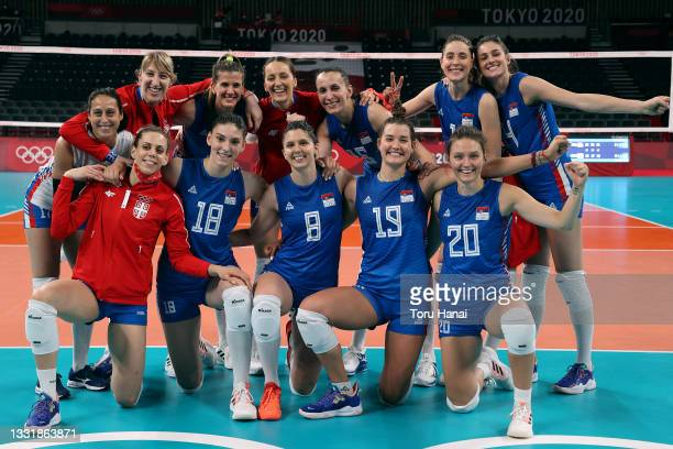 Team Serbia poses for a photo after defeating Team South Korea during the Women's Preliminary - Pool A volleyball on day ten of the Tokyo 2020...