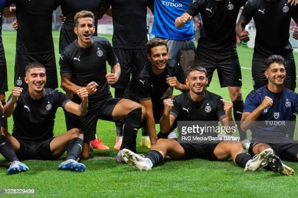 Team Servette FC celebrates the win after the UEFA Europa League qualification match between Servette FC and MFK Ruzomberok at Stade de Geneve on...