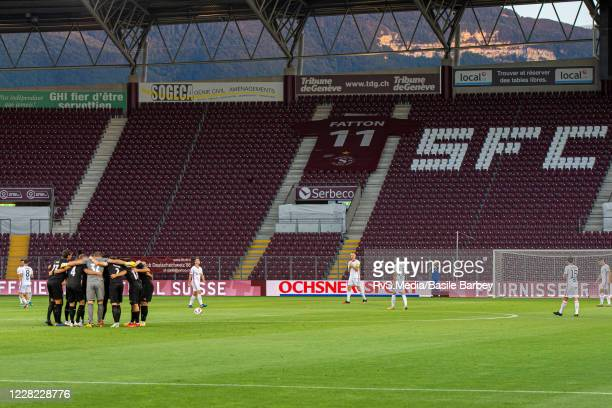 Team Servette FC huddle prior to the UEFA Europa League qualification match between Servette FC and MFK Ruzomberok at Stade de Geneve on August 27,...