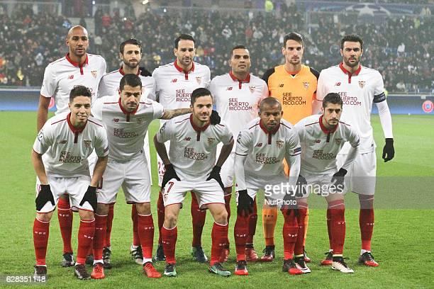 Team Sevilla during the Champions League match between Lyon and Sevilla at Stade des Lumieres on December 7 2016 in DecinesCharpieu France