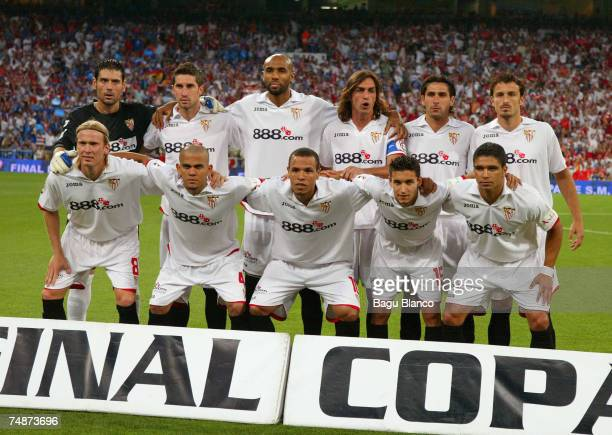 Team Sevilla poses before the Kings Cup final at the Santiago Bernabeu stadium on June 23 2007 in Madrid Spain