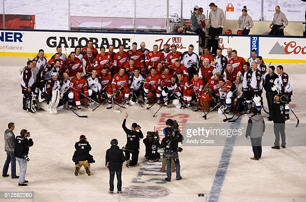 Team shot with both the Colorado Avalanche Alumni and the Detroit Redwings Alumni after the NHL Stadium Series Alumni game at Coors Field February 26...