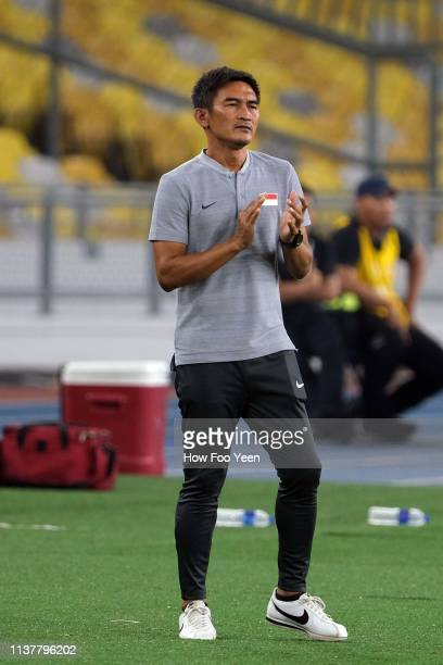 Team Singapore head coach Mohamad Nazri Nasir reacts during the Airmarine Cup final between Singapore and Oman at Bukit Jalil National Stadium on...