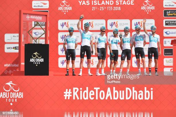 Team SKY ahead of the start to the second stage 154km Yas Island Stage from Yas Mall to Yas Beach On Thursday February 22 in Yas Island Abu Dhabi...
