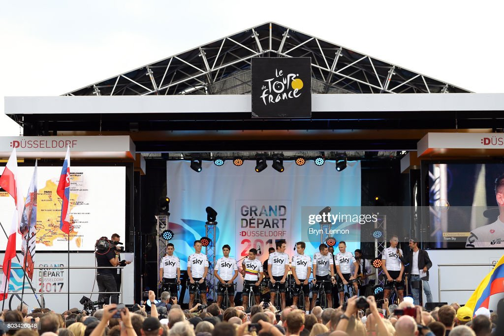 Team SKY attend the 2017 Tour de France Team Presentation on June 29, 2017 in Duesseldorf, Germany.