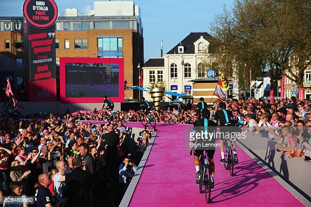 Team Sky attend the Opening Ceremony and official Team Presentation for the 2016 Giro d'Italia at the City Hall on May 05 2016 in Apeldoorn...