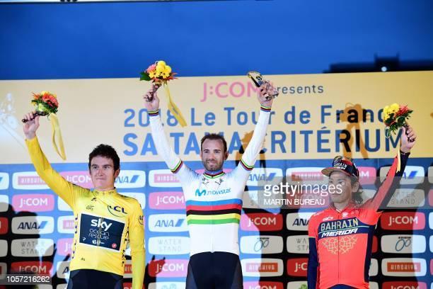 Team Sky British rider Geraint Thomas Movistar team Spanish rider Alejandro Valverde and Special TDF Japan team Japanese rider Yukiya Arashiro pose...