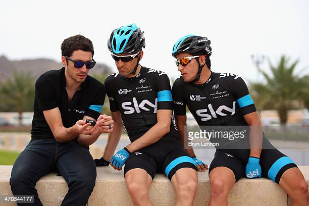 Team SKY Director Sportif Nicolas Portal chats to Mikel Nieve of Spain and Sergio Henao of Colombia at the start of stage two of the Tour of Oman...