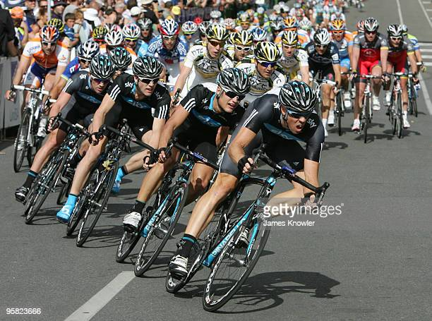 Team Sky lead the break away during the Cancer Council Helpline Classic during the 2010 Tour Down Under previews on January 17 2010 in Adelaide...