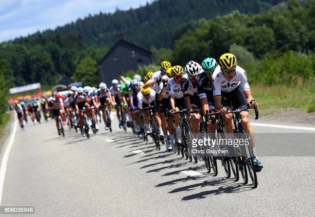 Team Sky lead the peloton during stage 3 of the 2017 Tour de France a 2125km road stage from Verviers to Longwy on July 3 2017 in Longwy France