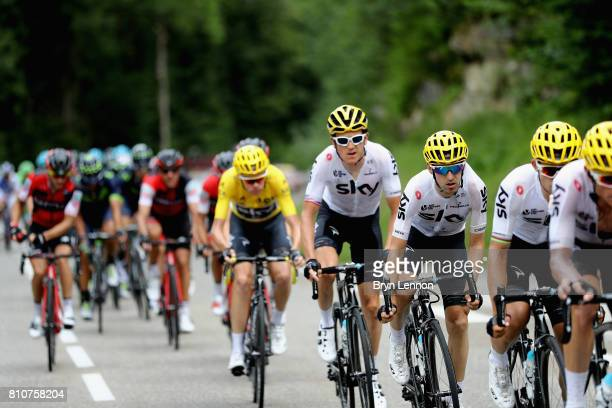 Team Sky lead the peloton during stage eight of the 2017 Le Tour de France a 1875km road stage from Dole to Station Des Rousses on July 8 2017 in...