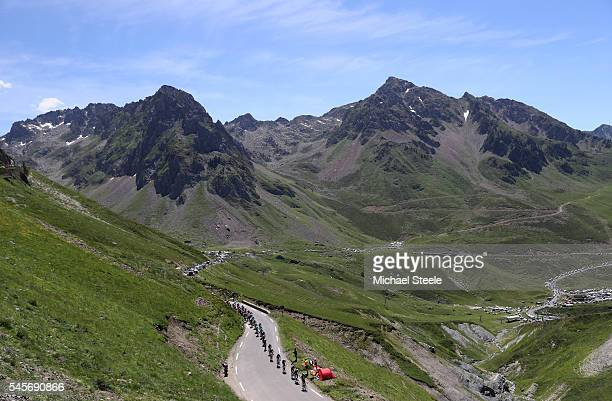 Team Sky lead the peloton up the Col du Tourmalet during the 184km stage eight of Le Tour de France from Pau to BagneresDeLuchon on July 9 2016 in...