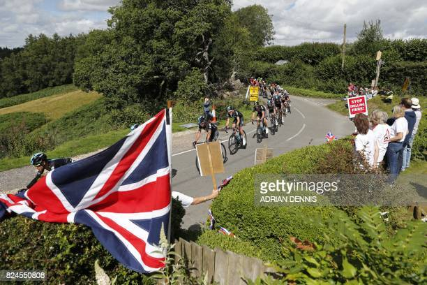 TOPSHOT Team Sky lead the riders up Leith Hill during the 'Prudential RideLondonSurrey Classic 2017' UCI World Tour cycle race in London on July 30...