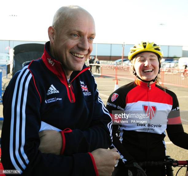 Team Sky Principal Sir Dave Brailsford during a visit to Changing Places Cycling Event at Pride Park in Derby