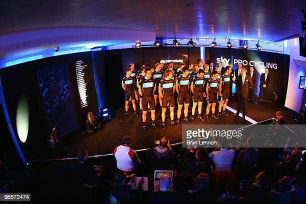 Team Sky Pro Cycling Team riders including Bradley Wiggins are presented to the media at the Team Sky Launch at Millbank Tower on January 4 2010 in...