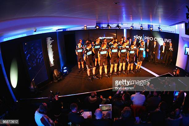 Team Sky Pro Cycling Team riders including Bradley Wiggins are presented to the media at the Team Sky Launch at Millbank Tower on January 4, 2010 in...