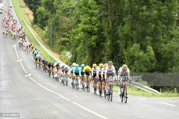 Team Sky ride through during stage 12 of the Le Tour de France 2017 a 2145km stage from Pau to Peyragudes on July 13 2017 in Pau France