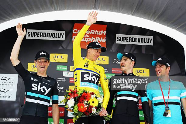 Team SKY riders Salvatore Puccio Chris Froome and Luke Rowe and Directeur Sportif Nicolas Portal stand on the podium after stage seven of the 2016...