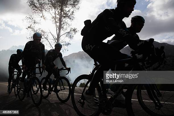 Team SKY riders take part in a training ride on February 4 2014 in Palma de Mallorca Spain