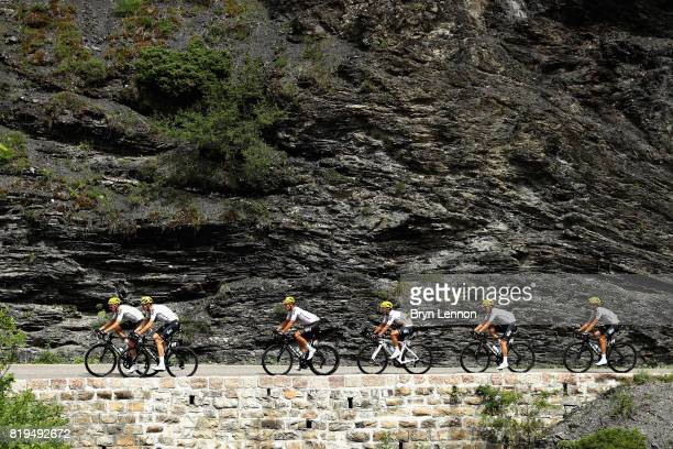 Team Sky rides on stage eighteen of the 2017 Tour de France a 1795km stage from Briancon to Izoard on July 20 2017 in Briancon France