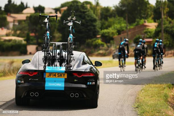 Team SKY train with their new Jagaur team car during the second rest day of the 2014 Tour de France on July 21 2014 in Carcassonne France