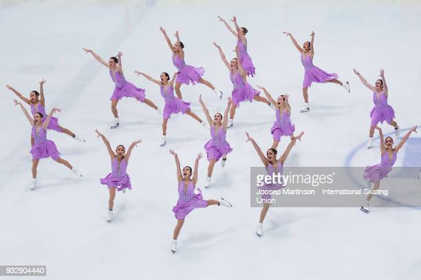 Team Skyliners Junior of the United States compete in the Short Program during the World Junior Synchronized Skating Championships at Dom Sportova on...