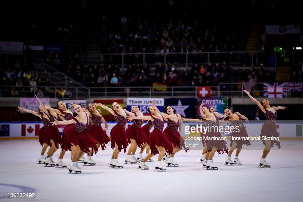 Team Skyliners of the United States perform in the Free Skating during day two of the ISU World Junior Synchronized Skating Championships Neuchatel...