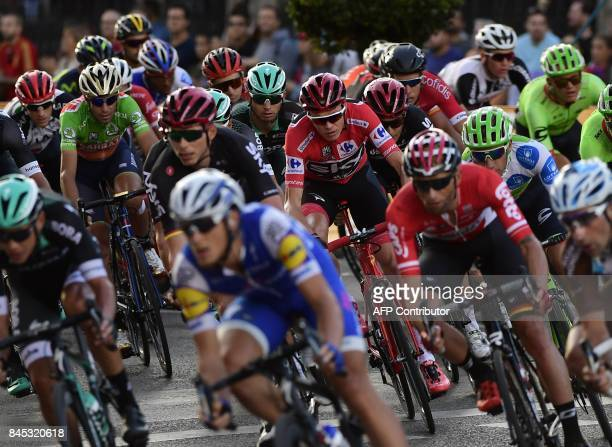 Team Sky's British cyclist Chris Froome rides in Madrid during the 21th and last stage of the 72nd edition of La Vuelta Tour of Spain cycling race a...