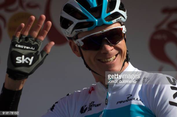 Team Sky's British cyclist Christopher Froome waves to supporters prior to the first stage of the 'Ruta del Sol' tour a 1976 km ride from Mijas to...
