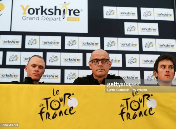 Team Sky's Chris Froome Sir Dave Brailsford and Geraint Thomas during a press conference in Leeds