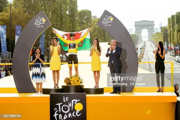 Team Sky's Geraint Thomas celebrates winning the Tour de France.