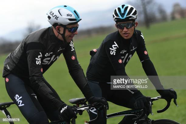 Team Sky's Polish rider Michal Kwiatkowski and British teammate Ian Stannard ride during the 109th Milan San Remo cycling race on March 17 2018 / AFP...