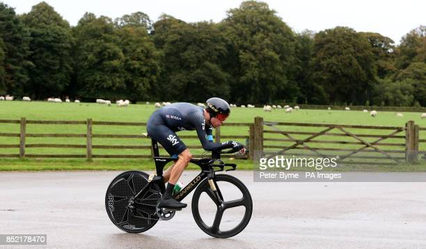 Team Sky's Sir Bradley Wiggins during the Stage Three Individual Time Trial in the 2013 Tour of Britain in Knowsley