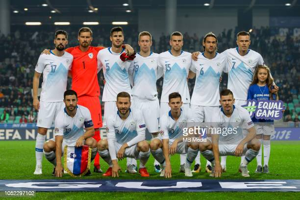 Team Slovenia during the UEFA Nations League C group three match between Slovenia and Cyprus at SRC Stozice on October 16 2018 in Ljubljana Slovenia