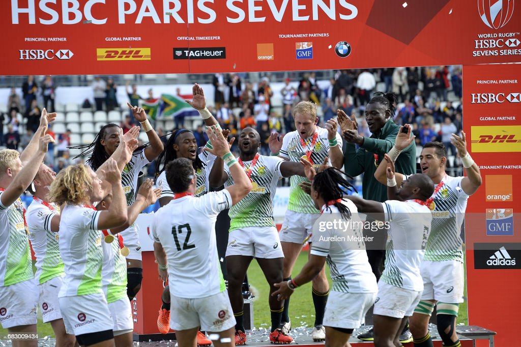 Team South Africa celebrate their victory over Scotland during the HSBC Paris sevens on May 14, 2017 in Paris, France.