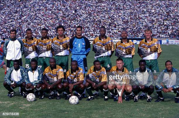 Team South Africa during the Final African Nations Cup match between South Africa and Tunisia on 3rd February 1996 in Johannesburg South Africa Andre...