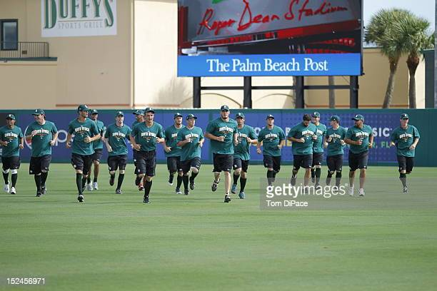 Team South Africa practicing is seen warming up during their workout for the World Baseball Classic Qualifier at Roger Dean Stadium on September 17,...