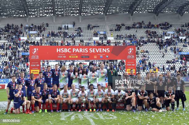 Team South Africa Scotland and New Zealand pose after the HSBC Paris sevens on May 14 2017 in Paris France