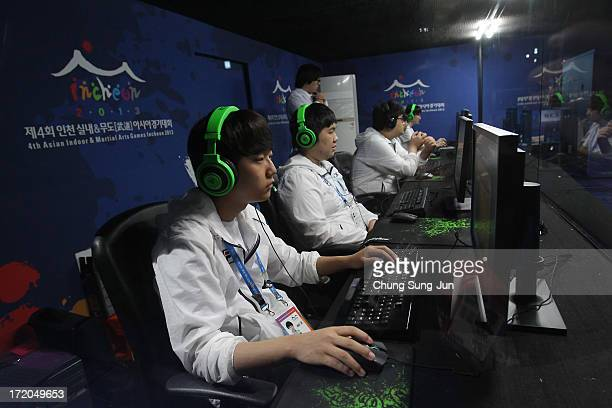 Team South Korea compete in the sSports League of Legends Final against China at the Samsan World Gymnasium during day three of the 4th Asian Indoor...