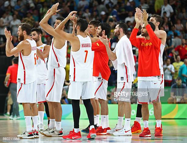 Team Spain acknowledges the crowd after being defeated by the United States during the Men's Semifinal match on Day 14 of the Rio 2016 Olympic Games...