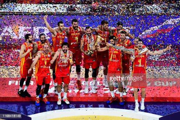 Team Spain celebrate after win the finals between Argentina and Spain of 2019 FIBA World Cup at the Cadillac Arena on September 15, 2019 in Beijing,...