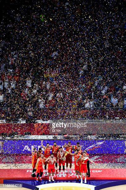 Team Spain celebrate after win the finals between Argentina and Spain of 2019 FIBA World Cup at the Cadillac Arena on September 15 2019 in Beijing...