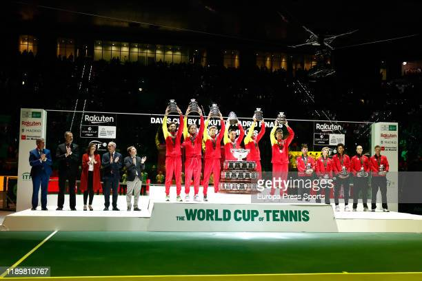 Team Spain celebrates the victory of the Tournament with the Davis Cup Trophy after the final match against Team Canada during the Day 7 of the 2019...