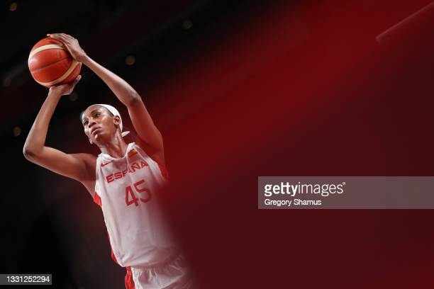 Team Spain centre Astou Ndour attempts a free throw against Serbia during the first half of a Women's Preliminary Round Group A game on day six of...