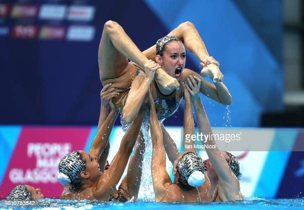 Team Spain compete in the Sychronised Swimming Team Free Routine Final during Day three of the European Championships Glasgow 2018 at Scotstoun...